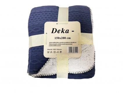 pleetená deka modrá