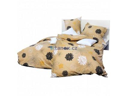 povlečení bavlna stanex holey béžovo hnědé květy