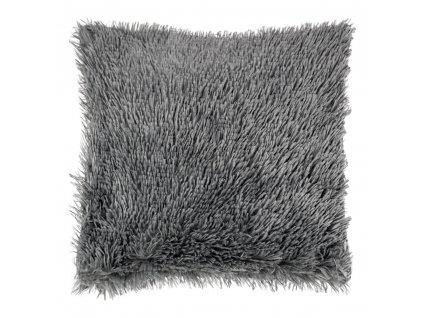 povlak na polštář dlouhý vlas tmavě šedý