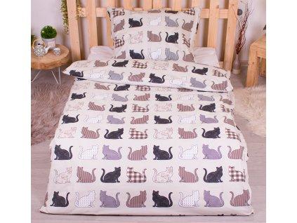 ložní povlečení bavlna ranforce kočky