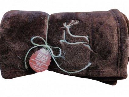 deka mikroflanel pro myslivce jelen hnědá