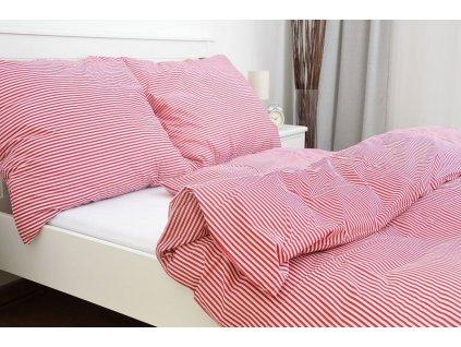 povlak na polštář bavlna pruhy červené
