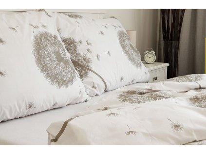 povlečení bavlna pampelišky bílo béžové