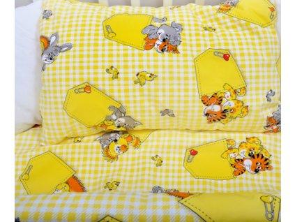 ložní povlečení dětské do postýlky kapsička žlutá