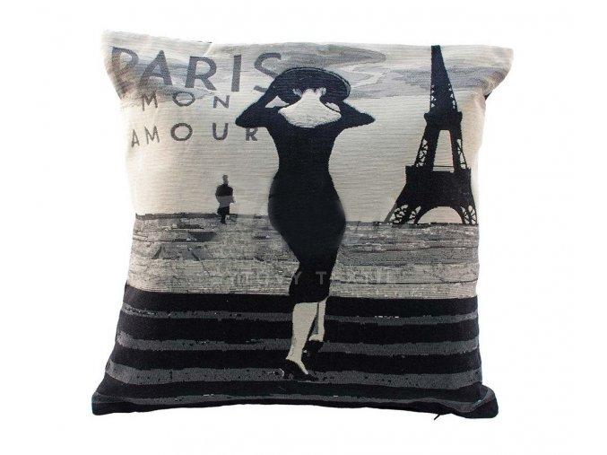 povlak na polštář Paříž černý