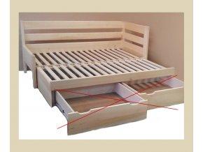 rozkládací postel double do L bez uložného prostoru