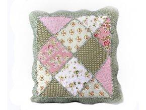 polštářek provence zelený s růžovou