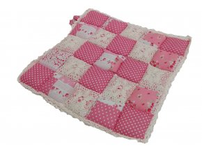 sedák provence růžový puntík s krajkou