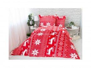 povlečení mikroplyš vánoční červené