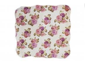 polštářek provence patchwork růže růžovo fialové