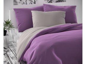 ložní povlečení bavlněný satén kvalitex fialová šedá