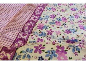 letní přikrývka kvítky fialové lehká