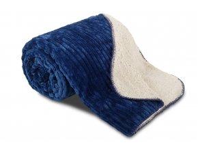 deka mikrovlákno manžestr modrá s beránkem