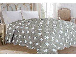 přehoz na dvoulůžko stars hvězdy šedý