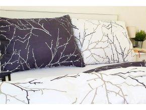 povlečení bavlna větvičky oboustranné šedo bílé