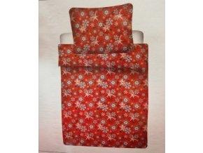 vánoční povlečení bavlna vločky červené