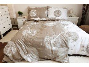 povlečení bavlna pampelišky oboustranné bílo béžové