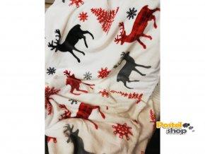 deka vánoční s beránkem červená