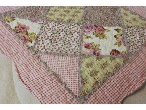 Povlak na polštář  provence patchwork růže starorůžový 45x45cm