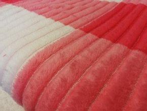 Deka mikrovlákno čtverce růžová 200x230 cm