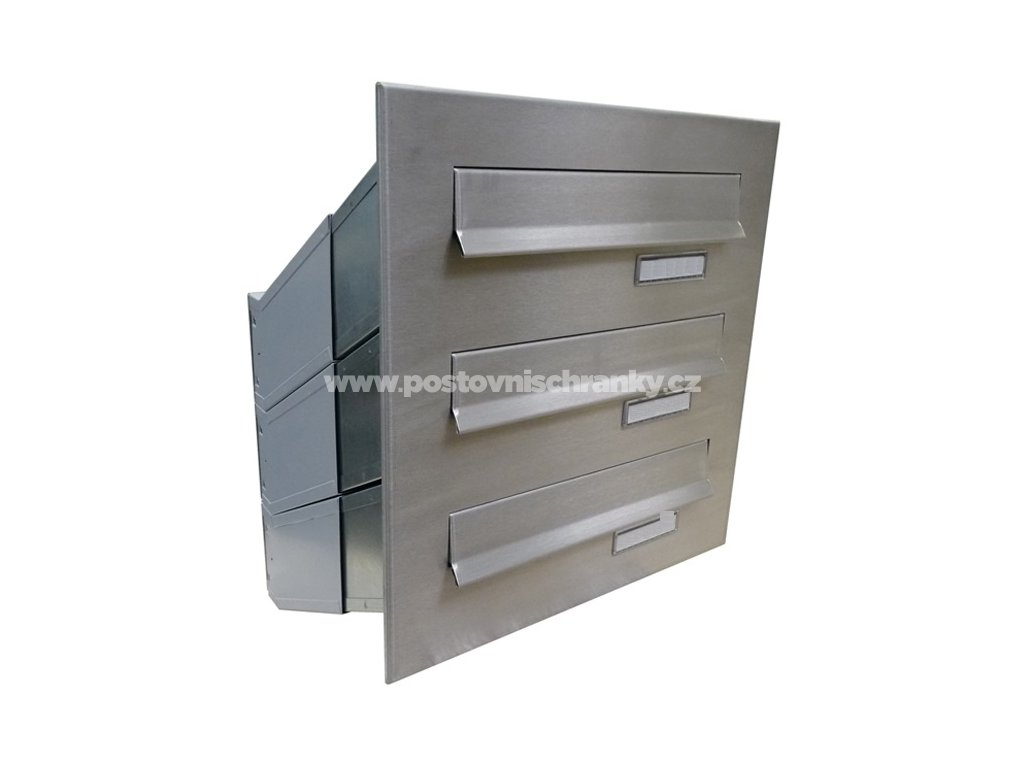 poštovní schránka 3 x D041 nebo D042 NEREZ - šikmá - regulace hloubky 230-480