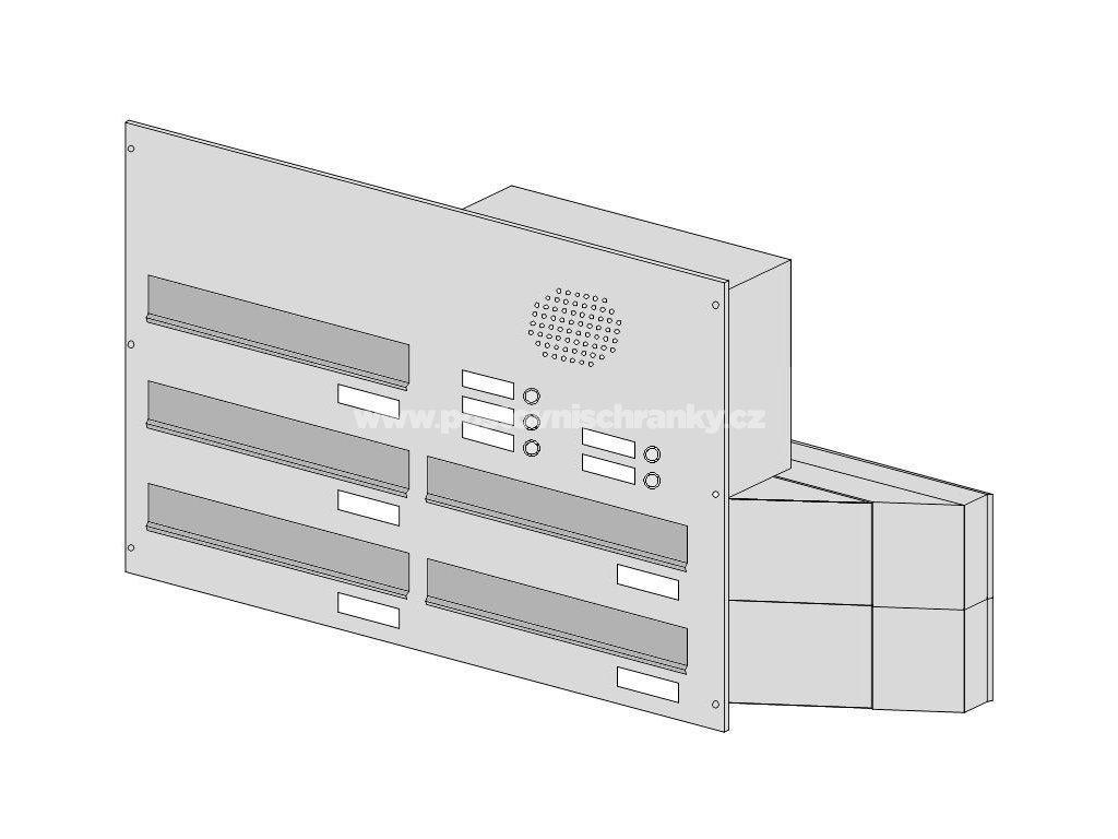 poštovní schránka 5 x D041 nebo D042 NEREZ ELEKTRO - šikmá - regulace hloubky 230-480