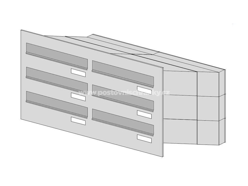 poštovní schránka 6 x D041 nebo D042 NEREZ - (3+3)- šikmá - regulace hloubky 230-480