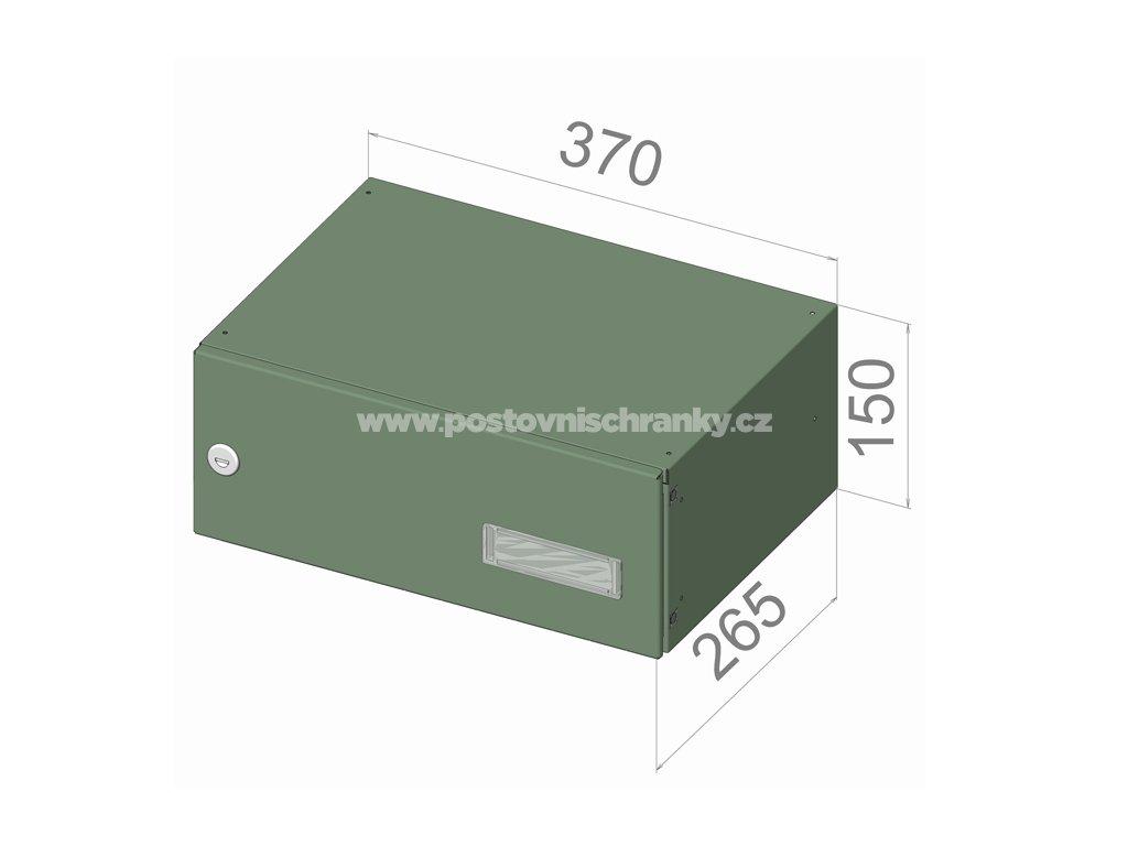 poštovní schránka B045 (rovná -malá hloubka) - 370 x 150 x 265