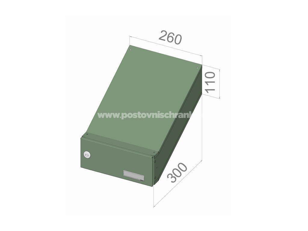 poštovní schránka D046 (šikmá - zúžený model) - 260 x 110 x 300