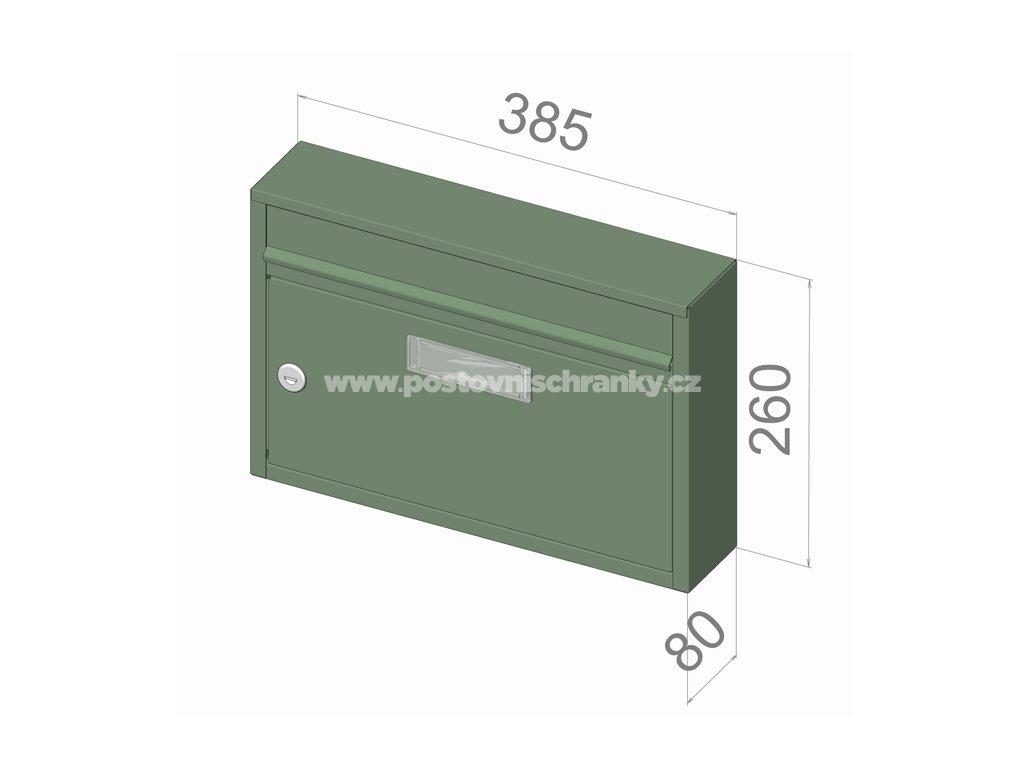 typ G01 BASIC RAL + lem - 385x260x80 (nástěnný model) přední vhoz-přední výběr
