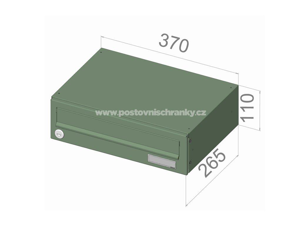 typ B017 RAl + lem - 370x110x265 (ležatý model) přední vhoz-přední výběr