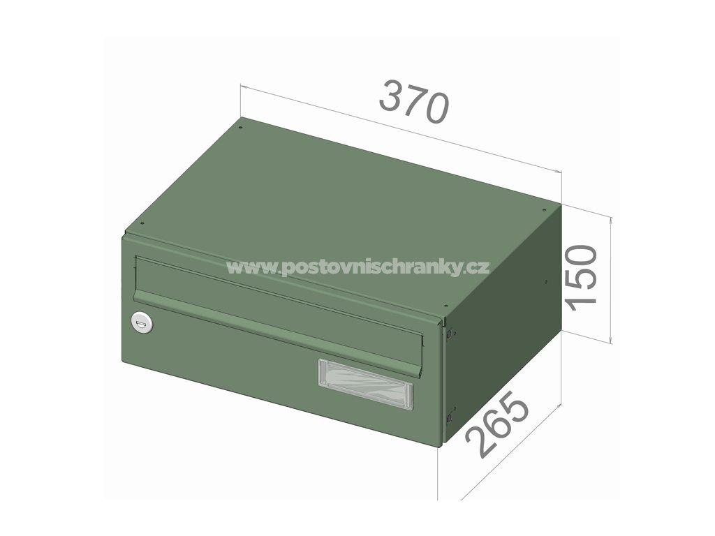 typ B015 RAL + lem - 370x150x265 (ležatý model) přední vhoz-přední výběr