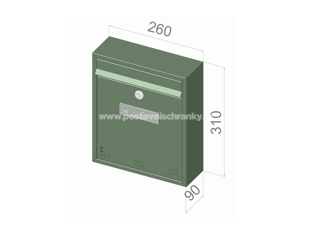 H011 RAL - 260 x 310 x 90 (nástěnný model)