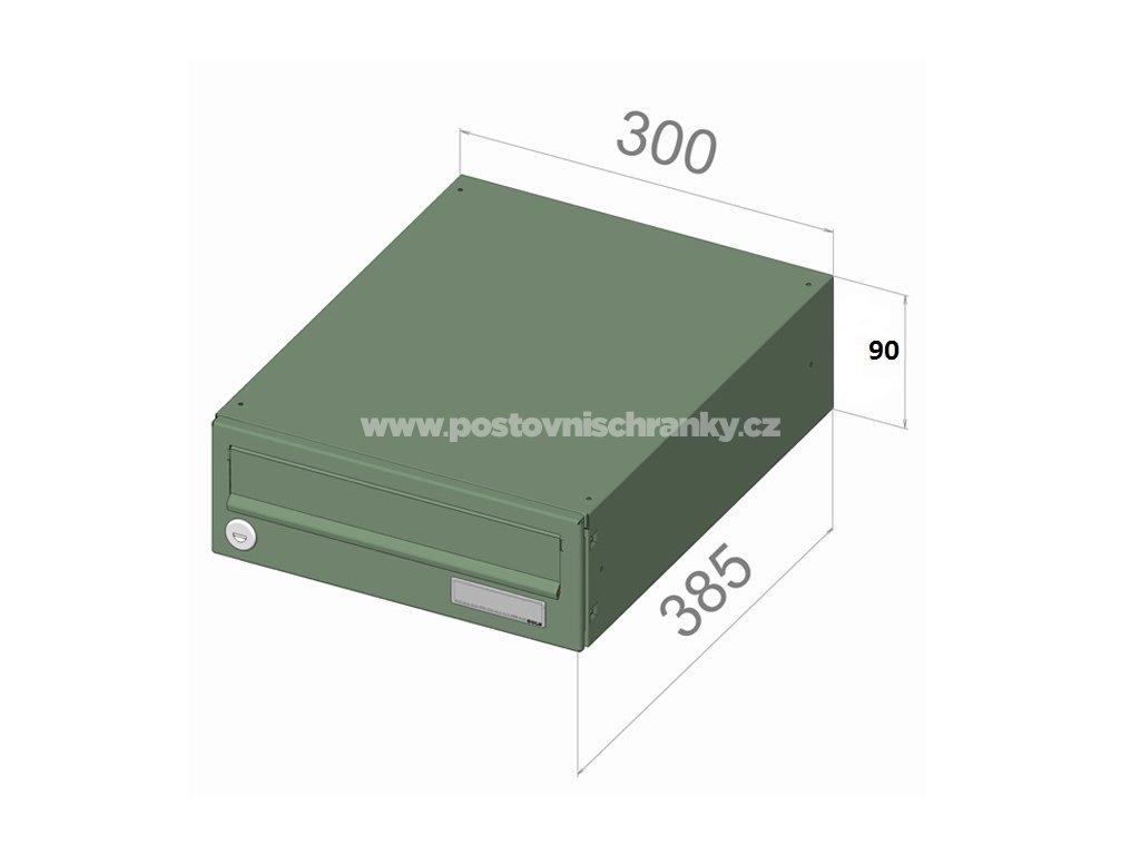 B019 NEREZ (tělo RAL 7040) - 300 x 90 x 385 (ležatý model)