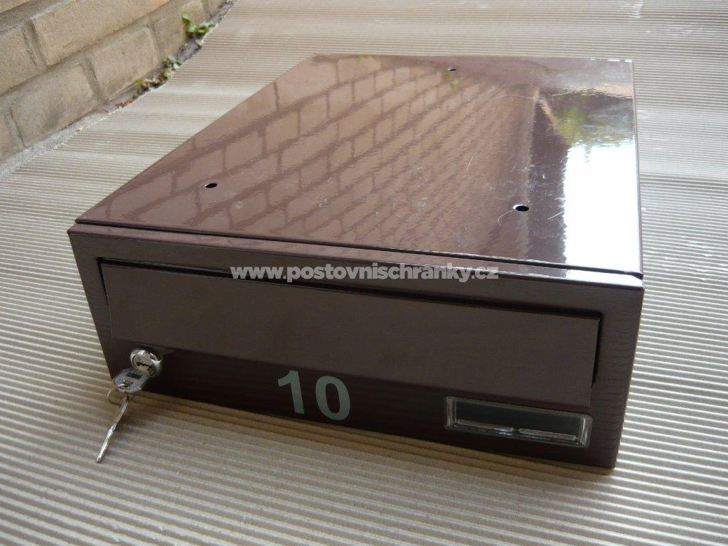 poštovní schránka č 10 -LAKOVANÁ - ležatá-300x110x390 (přední vhoz-přední výběr)