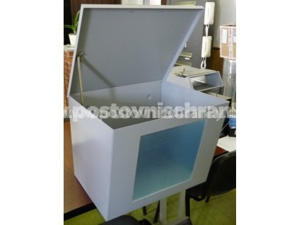 B01 - VELKOKAPACITNÍ  BOX NA LETÁKY - odklápěcí víko + plexisklo