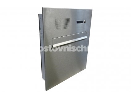 poštovní schránka A04 NEREZ ELEKTRO - (do plotového dílce s čelní nerez deskou) - KOMPLET