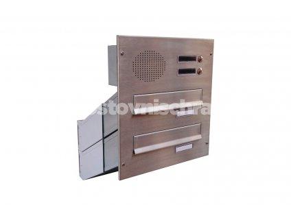 poštovní schránka 2 x D041 nebo D042 NEREZ ELEKTRO - šikmá - regulace hloubky 230-480 mm