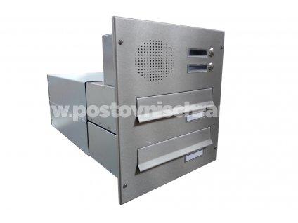 poštovní schránka 2 x B042 NEREZ  ELEKTRO - rovná - regulace hloubky 390-620 mm