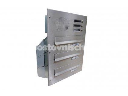 poštovní schránka 3 x D041 nebo D042 NEREZ ELEKTRO - šikmá - regulace hloubky 230-480 mm