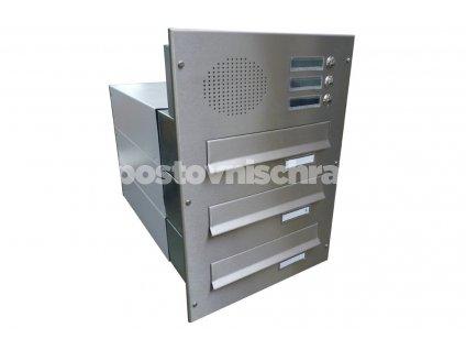 poštovní schránka 3 x B042 NEREZ  ELEKTRO - rovná - regulace hloubky 390-620 mm