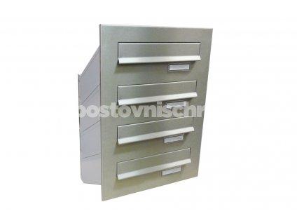poštovní schránka 4 x D041 nebo D042 NEREZ - šikmá - regulace hloubky 230-480