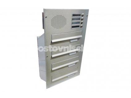poštovní schránka 4 x D041 nebo D042 NEREZ ELEKTRO - šikmá - regulace hloubky 230-480 mm