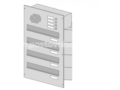 poštovní schránka 4 x B042 NEREZ  ELEKTRO - rovná - regulace hloubky 390-620 mm