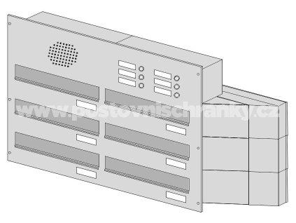 poštovní schránka 6 x D041 nebo D042 NEREZ ELEKTRO - šikmá - regulace hloubky 230-480
