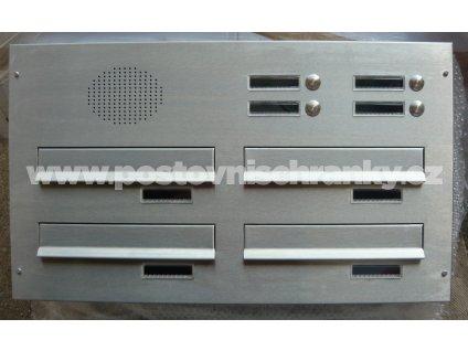 poštovní schránka 4 x D041 nebo D042 NEREZ ELEKTRO - šikmá - regulace hloubky 230-480