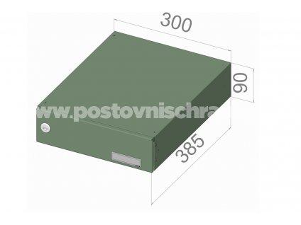 poštovní schránka B049 (rovná -snížený model) - 300 x 90 x 385