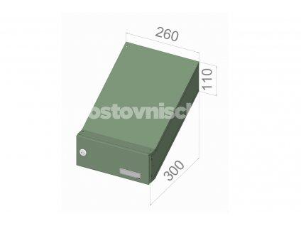 poštovní schránka D046 (šikmá -zúžený model) - 260 x 110 x 300
