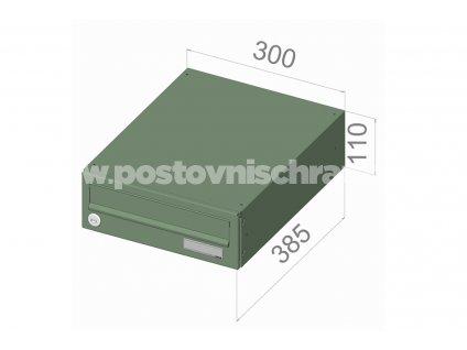 typ B01 KOMFORT RAL + lem - 300x110x385 (ležatý model) přední vhoz-přední výběr
