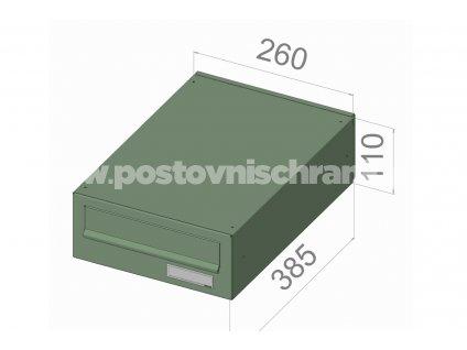 typ B026 RAL + lem - 300x110x385 (ležatý model) přední vhoz-zadní výběr